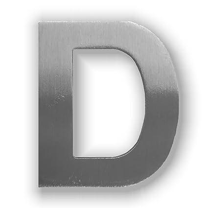 Letra D de acero inoxidable, acabado cepillado, con adhesivo ...