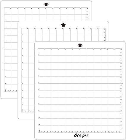 Leslaur ANTIGUO ZORRO Reemplazo Estera de corte Estera adhesiva transparente con rejilla de medición 12 * 12 pulgadas para Silhouette Cameo Plotter Machine, 3pcs: Amazon.es: Oficina y papelería