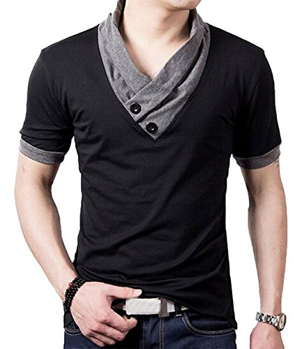 YTD 100% Cotton Mens Casual V-Neck Button Slim Muscle Tops Tee Short Sleeve T- Shirts (US Medium, Black)