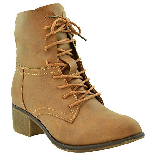 Womens Ankle Boots Faux Leather Lace Up Western Block Heel Shoes Cognac Cognac XiJOL