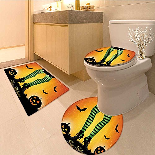 3 Piece Toilet lid cover mat set Cartoon Witch Legs with Striped Leggings Western Culture Concept Bats and Pumpkins E Very Absorbent Bathroom Bath Mat Contour Rug - Concepts Striped Rug