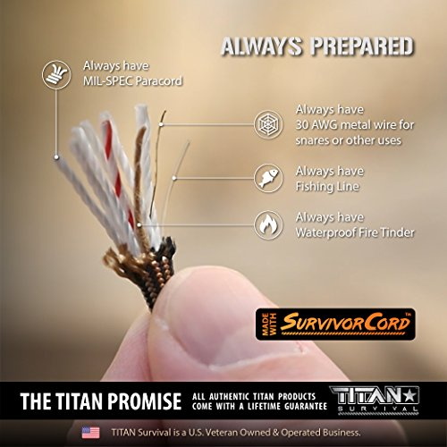TITAN Paracord Survival Bracelet | Made with Patented SurvivorCord (550 paracord, fishing line, snare wire, and waxed jute for fires). FREE eBooks Included.