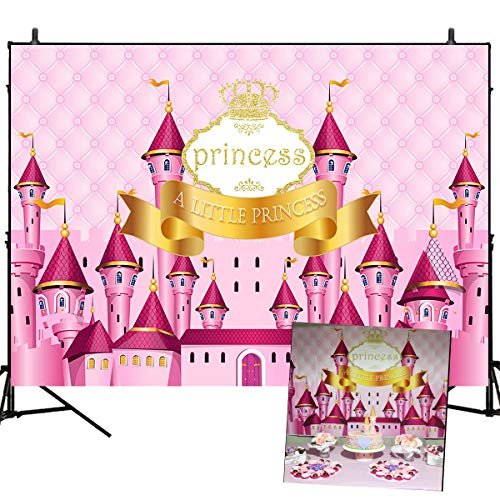 Mehofoto Birthday Photography Backdrop Princess Dream Pink Castle Birthday Party Dessert Table Banner 7x5ft Customized Baby Name Birthday Number Vinyl Photo Studio Booth Props -