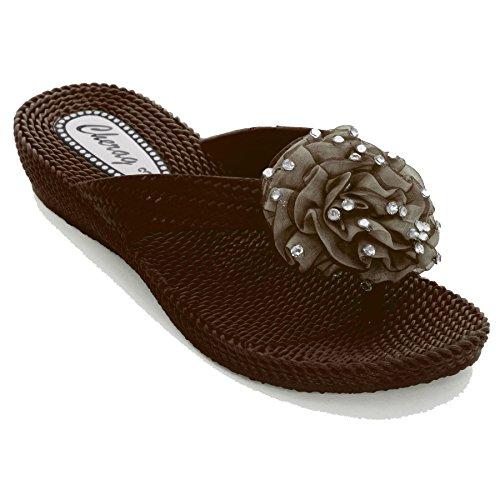 Sapphire - Sandalias Tipo Chanclas para Dama Con Detalle de Flor Decorada con Piedrería Tipo Diamante y Tacón Bajo Muy Cómodas Marrón