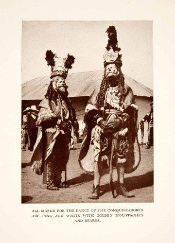 Conquistador Costume (1937 Print Guatemala Chichicastenango Dance Conquistadors Costume Mask Hat Fest - Original Halftone)