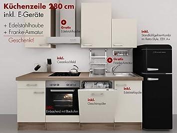 Retro Kühlschrank Günstig Kaufen : Küchenzeile cm magnolie mit armatur retro kühlschrank