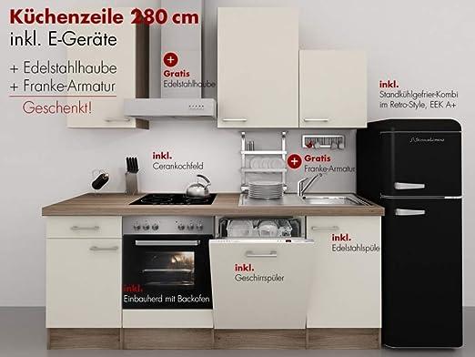 Retro Kühlschrank 80 Cm : Küchenzeile cm magnolie mit armatur retro kühlschrank