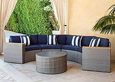 Solaura Outdoor 5-Piece Sectional Furniture Patio Half-Moon Set Grey Sofa Nautical Navy Blue Cushions & Sophisticated Glass Coffee Table