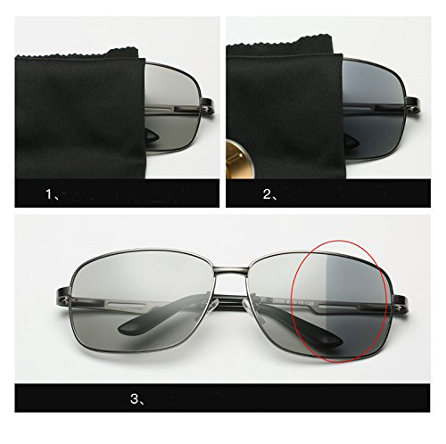 A day Driving Coolest Frame Square Use Sunglasses sensitive Night sunglasses protection gun Use Discoloration and UV Light Eyeglasses Sunglasses Sunglasses Lens Eyewear Day Sunglasses Fauhsto Avitor Polarized Grey discolor Men Travel wgg0Sx
