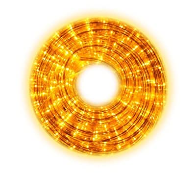 YELLOW LED Rope Lights with attached controller - 110 Volt 7/16 Inch Width - 52.5 feet