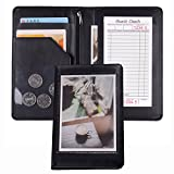 Black Faux Leather Waiter or Waitress Server Book Organizer Wallet, Restaurant Receipt or Money Check Holde (Black/8'' ×5'' inch)