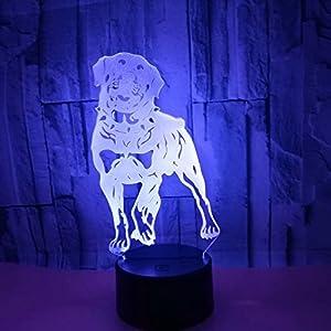 Abaya 3D Optical Illusion Night Light 7 Color LED Light Dog for Kids