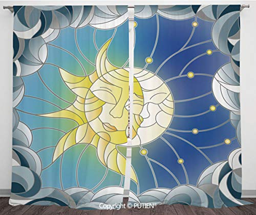 - Satin Window Drapes Curtains [ Sun and Moon,Stained Glass Style Illustration of Interweaving Sun and Moon in Sky Romantic Decorative,Multicolor ] Window Curtain Window Drapes for Living Room Bedroom D