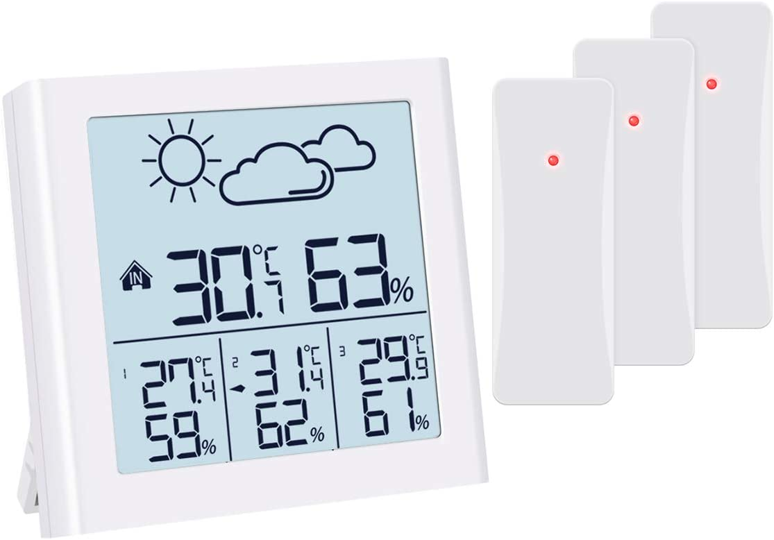 ORIA Indoor Outdoor Thermometer, Weather Forecast Station with 3 Wireless Sensors, Temperature Humidity Monitor with Low Power Indicator, LCD Backlit, Min/Max Record for Home, Office