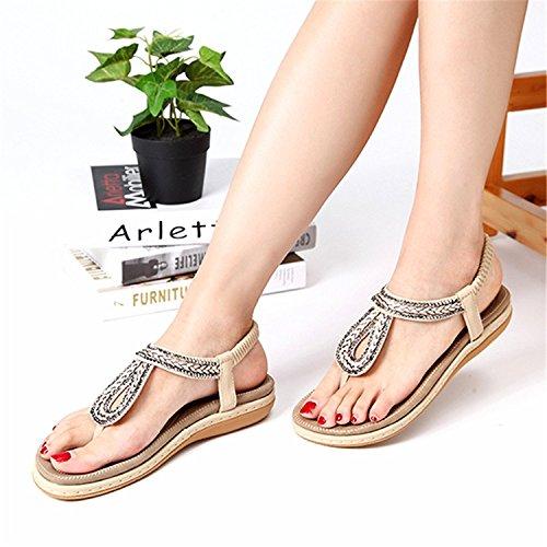 On Sommer Beige Strass mit Schuhe Damen Strand Style Slip Tomwell Flache T Elastischer Sandalen Toe Bohemian Open Strap FYABqwx