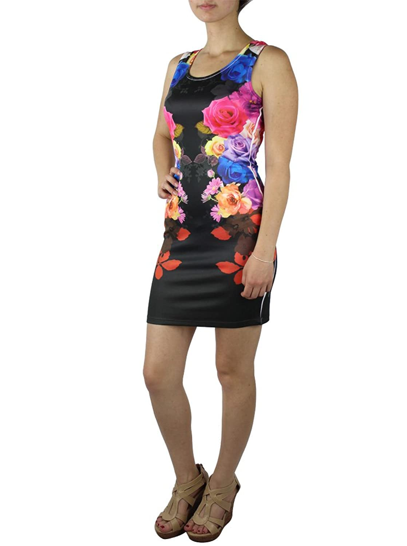 Alfa Global Women's Crew Neck Flower Printed Short Sleeveless Mini Dress