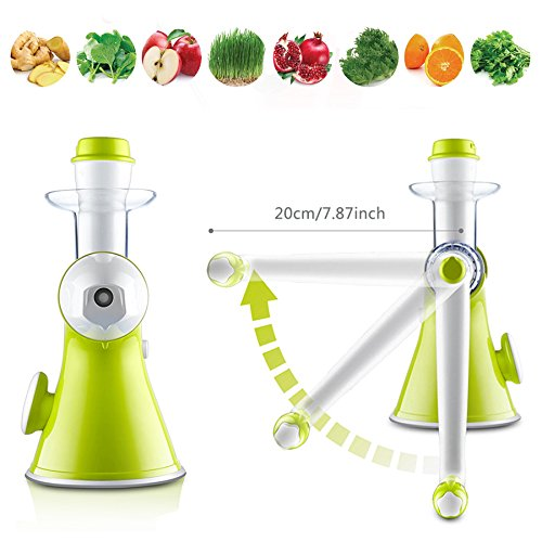 Bon venu Slow Manual Juicer - Fruits vegetables Hand Juicer - Suction Base- Kids Juicer Ice ...