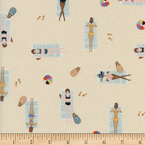 Cotton + Steel Rifle Paper Co Amalfi Sun Girls Natural Fabric by The Yard