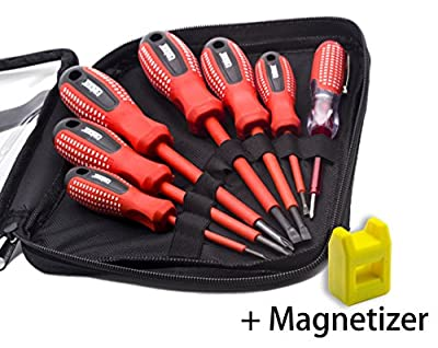 Finder 7 Pcs Anti-rust Insulated Electrician Screwdriver Set With Bag, Electroprobe, Industrial Level Chrome Vanadium Steel, Magnetic Tips, Red and Black