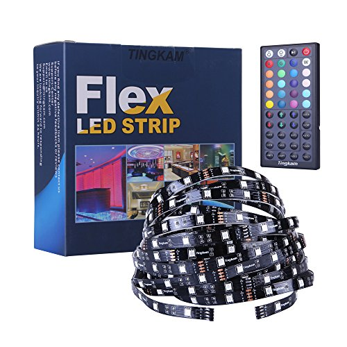 Tingkam 5050 SMD 32.8ft 10m RGB Flexible LED Strip Light Kit in Black PCB + 44 Key Led Remote Controller + US Power Supply for Indoor Decoration -