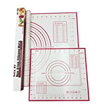 "Cofe-BY Silicone Pastry Mats set of 2, Large 23.62"" x 15.74"" Small 11.41"" x 10.23"", Fondant Mat with Measurements, Non Stick Baking Mat for Rolling Dough, Sticks to Countertops (Red)"