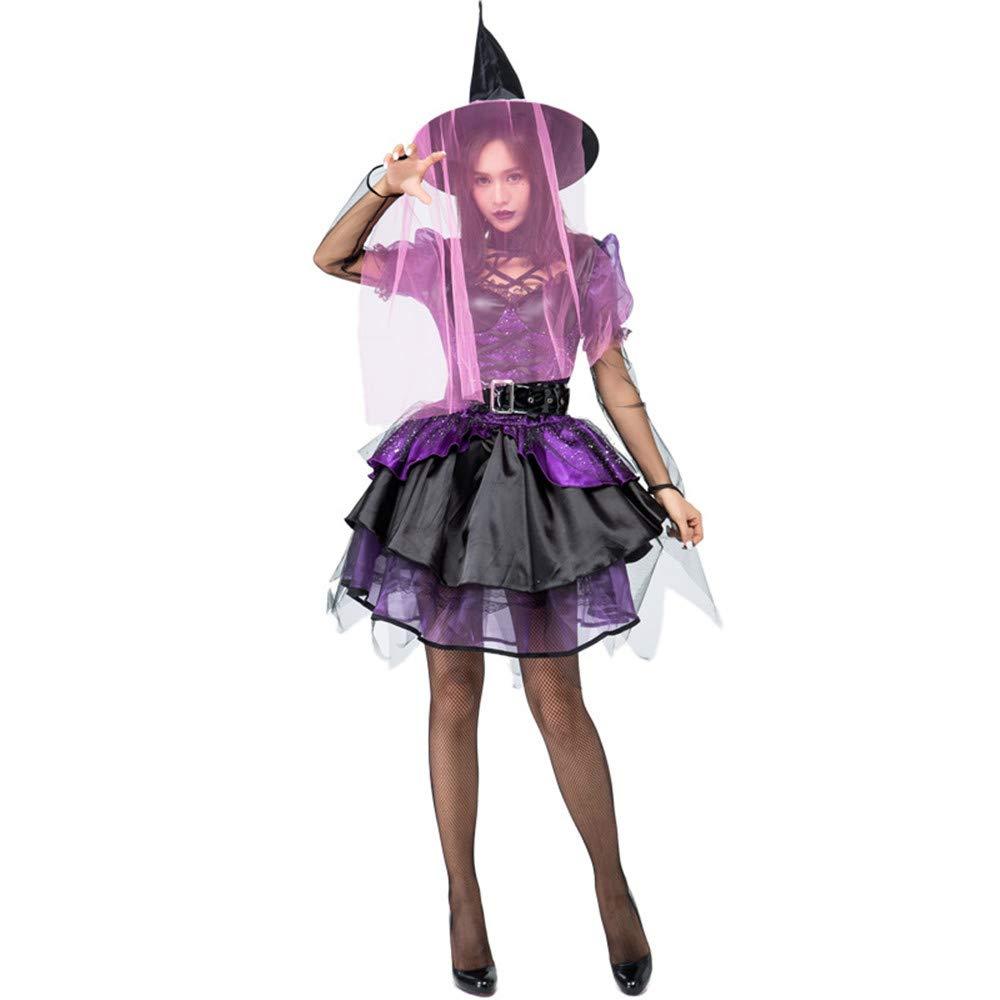 QAR Mädchen Lila Poncho Niedliche Hexe Halloween Kostüm Party Kostüm Damenbekleidung
