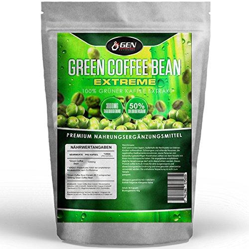 Green Coffee Bean Extreme - 3000mg Tagesdosierung - 50% GCA - 30 Tage Anwendung - 90 Kapseln - 100% Grüner Kaffee aus natürlicher Quelle - Zur Unterstützung während der Diät & Gewichtsreduktion- Premium Qualität - Bekannt aus dem TV