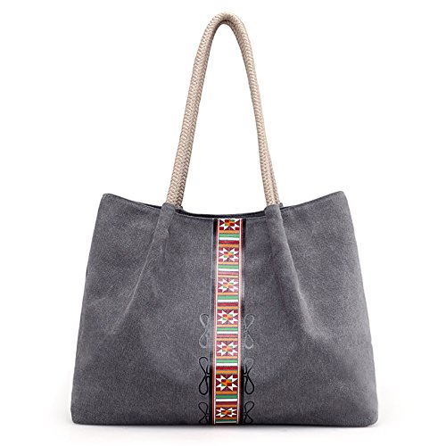 Casual Bag Shoulder Bag Top Work Hobo Shopping Handle Fanspack Bag Women's Tote Bag Grey Canvas wqzFA18