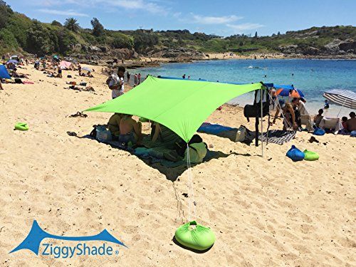 ZiggyShade UPF50 Lycra Fabric Family Beach Sunshade Tent with Sandbag Anchors and 4 Pegs, Jasmine Green