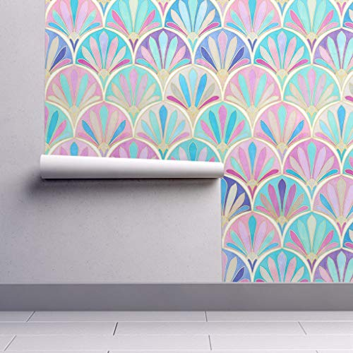 Peel-and-Stick Removable Wallpaper - Pastel Art Deco Modern Decor Nouveau Scales Fan Pink Purple Art Deco by Micklyn - 24in x 108in Woven Textured Peel-and-Stick Removable Wallpaper Roll