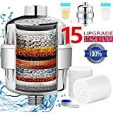 Shower Head Filter for Hard Water with 2 Replacement Cartridges Compatible with Universal