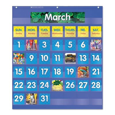 Monthly Calendar Pocket Chart, 25 1/2 x 10 x 0.13, Blue/Clear, Sold as 1 Each
