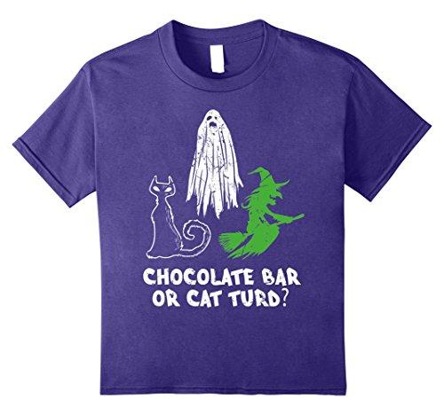 Group Candy Bar Halloween Costumes - Kids Chocolate Bar Or Cat Turd Funny Halloween T-Shirt 12 Purple