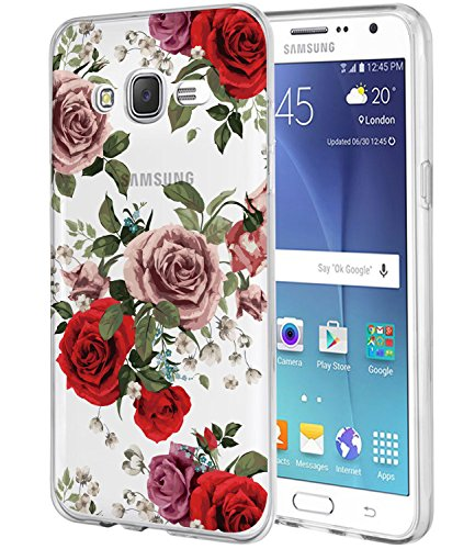 (Galaxy J7 Case,J700 Case with flowers, BAISRKE Slim Shockproof Clear Floral Pattern Soft Flexible TPU Back Cove for Samsung Galaxy J7 J700 (2015)[Roses])