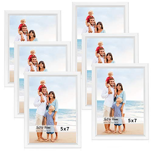 LaVie Home 5x7 Picture Frames (6 Pack, White) Simple Designed Photo Frame with High Definition Glass for Wall Mount & Table Top Display, Set of 6 Classic Collection