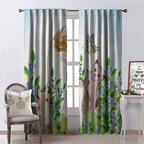 GloriaJohnson Cat Shading Insulated Curtain Cute Kittens in Flower Meadow Field Happy Cats Family with Butterfly Kids Cartoon Print Soundproof Shade W100 x L84 Inch Multi