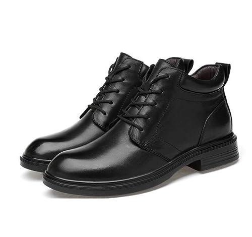 Botines De Cuero Negro para Hombre Zapatos De Tacón Alto Zapatos De Policía De Seguridad En El Trabajo Botas Ejército Militar Combate Botas con Cordones ...