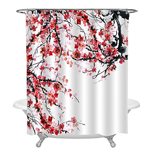 Asian Watercolor and Ink Illustration Plum Tree Braches and Florals Shower Curtain, Oriental Traditional Painting Artwork for Spring and Summer House Decor, Waterproof Polyester, Red Pink, 72 x 78