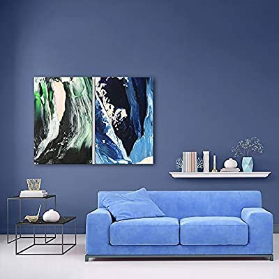 2 Panel Canvas Wall Art - Abstract Green and Blue Color Composition - Giclee Print Gallery Wrap Modern Home Art Ready to Hang - 24
