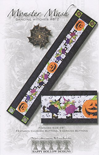 Monster Mash Witch Pumpkin Happy Hollow Quilt Pattern Table Runner 812 Halloween -