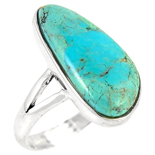 Turquoise Ring in Sterling Silver 925 & Genuine Turquoise Size 5 to 11 (5)