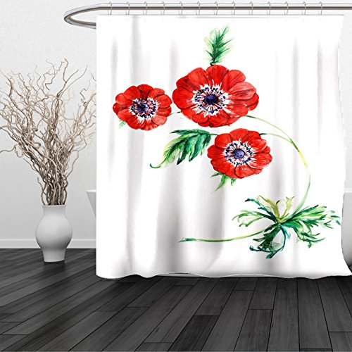 HAIXIA Shower Curtain Anemone Flower Three Red Flowers in Watercolor Painting Style Summer Bloom Botany Red Purple Green