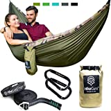 Hike Guru Double Hammock with Tree Straps plus Carabiners - Portable Lightweight Parachute Nylon Hammocks For Two People or Single Person -Backpacking, Camping, Survival, Travel, Beach, Yard