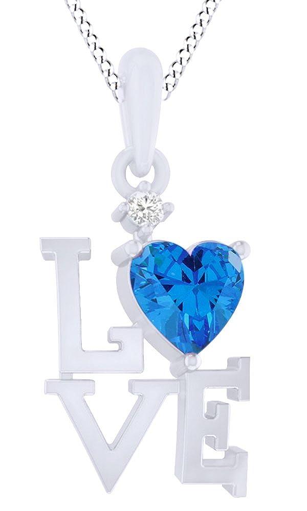 925 Blau Sterling Silber Simuliert Blau 925 Topas & Zirkonia weiß Doppel Herz Anhänger Halskette für Frauen Mädchen (