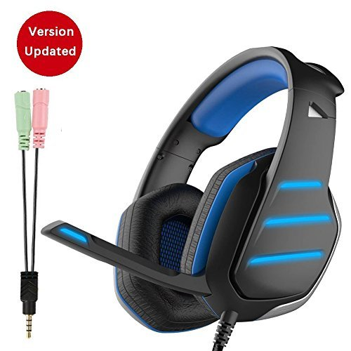 Happy Gym Hangout - Emmabin Gaming Headset PS4 Dolby Surround 7.1, Bass Over-Ear Headphones with Mic Noise Isolating, Sports Performance Ear Pads, Rotating Ear Cups, 3.5 Jack LED Lights for Laptop, PC, Mac, Smartphone