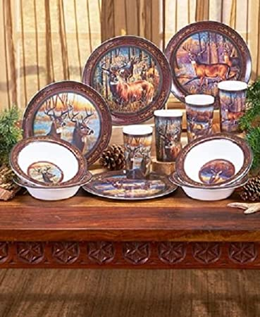 Amazon.com: 12 Pc. Licensed Wildlife Melamine Dinnerware Set Buck ...