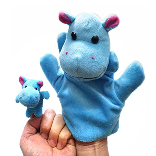 Gotd Finger Puppets Story Time Finger Puppets Educational Puppets Hand Puppets Gift Set/ 2Pcs Finger Even, Storytelling, Good Toys, Hand Puppet for Baby's Gift (Rhinoceros) -