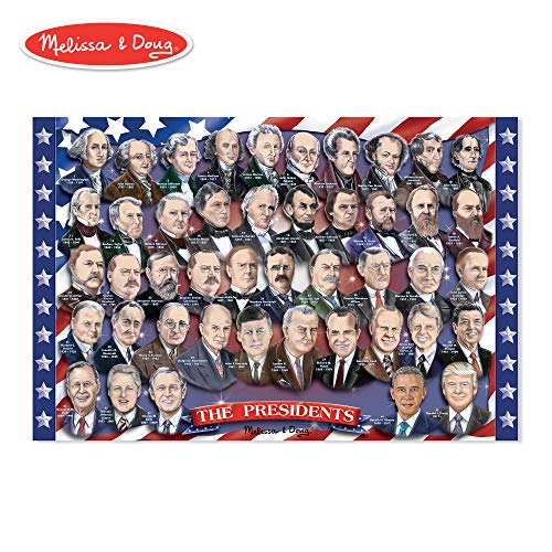 Melissa & Doug American Presidents Floor Puzzle (Easy-Clean Surface, Promotes Hand-Eye Coordination, 100 Pieces, 24