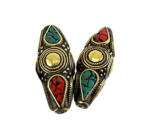 Tibetan Beads with Pressed Turquoise and Red Coral Stones, Inlaid with Brass 2 Pieces per Package
