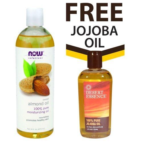 NOW Foods Sweet Almond Oil - 16 oz. + FREE Desert Essence Pure Jojoba Oil -- 4 fl - Jojoba Foods Pure Oil Now